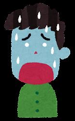辛い表情の男性のイラスト(6段階)