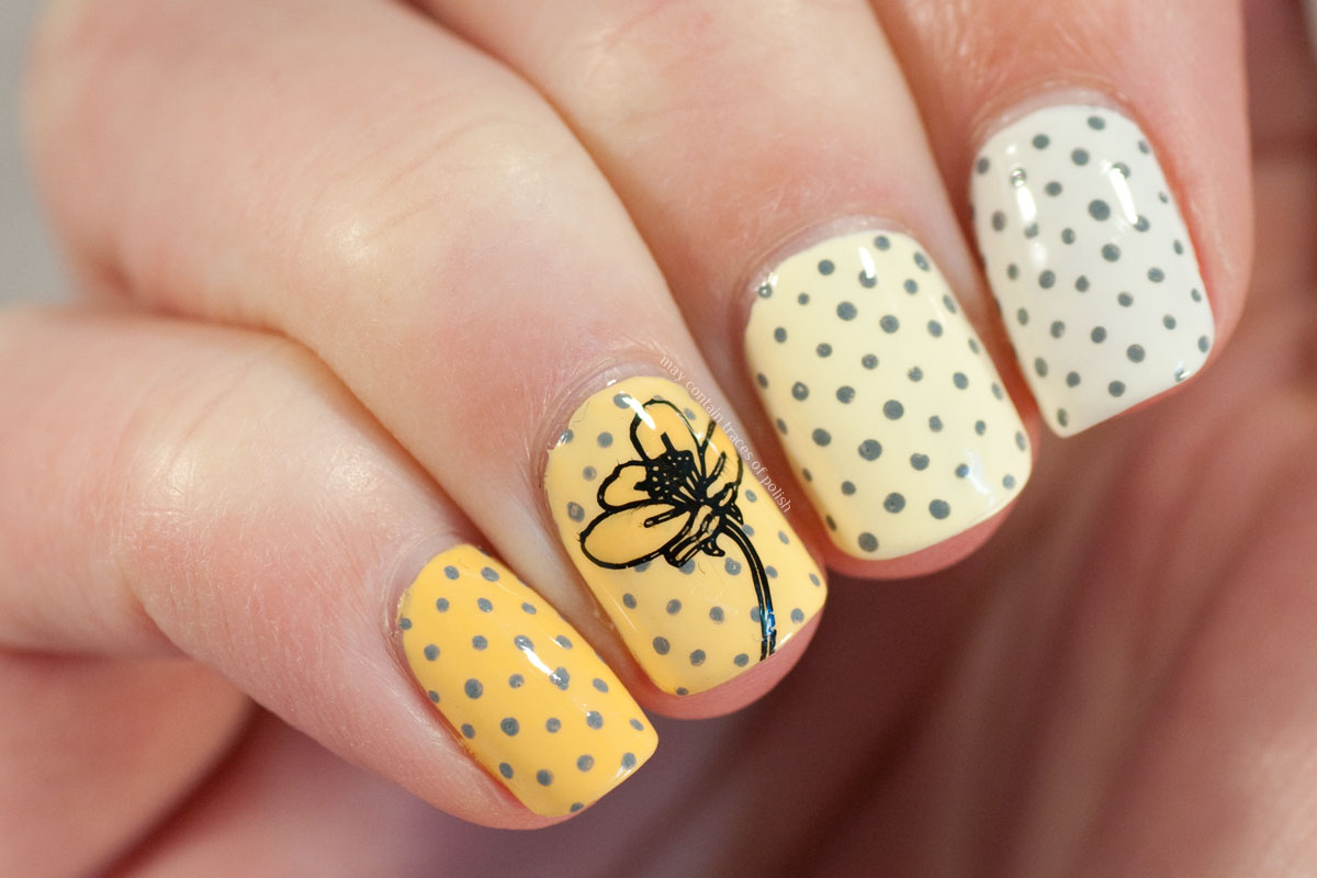 Yellow Dotticure Ombre Nail Art in yellow and grey