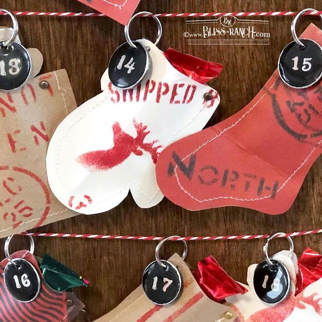 Hand made fake enamel tags advent calendar Bliss-Ranch.com