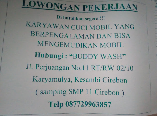 Lowongan kerja Cirebon Karyawan Cuci Mobil Buddy Wash