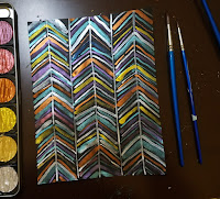glittering chevron pattern with watercolor set and 2 paintbrushes