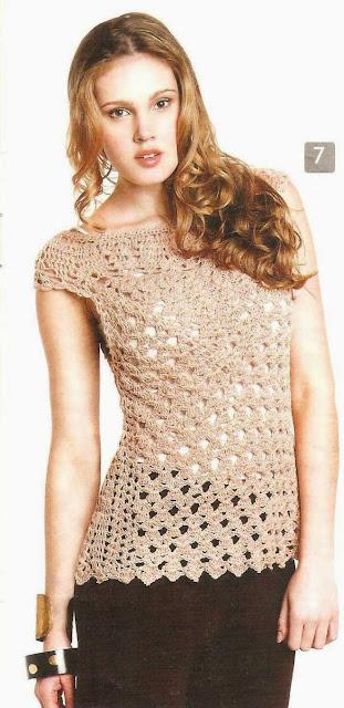 Patrón #1555: Blusa a Crochet