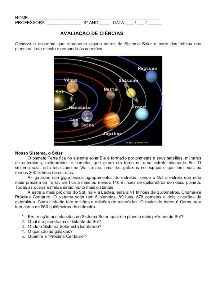AVALIAÇÃO DE CIÊNCIAS 4 ANO: SISTEMA SOLAR, LIXO, DESENVOLVIMENTO SUSTENTÁVEL E SISTEMAS DO CORPO HUMANO.