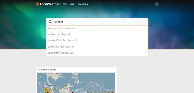 Mencari prediksi cuaca menggunakan AccuWeather
