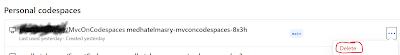 delete github codespace