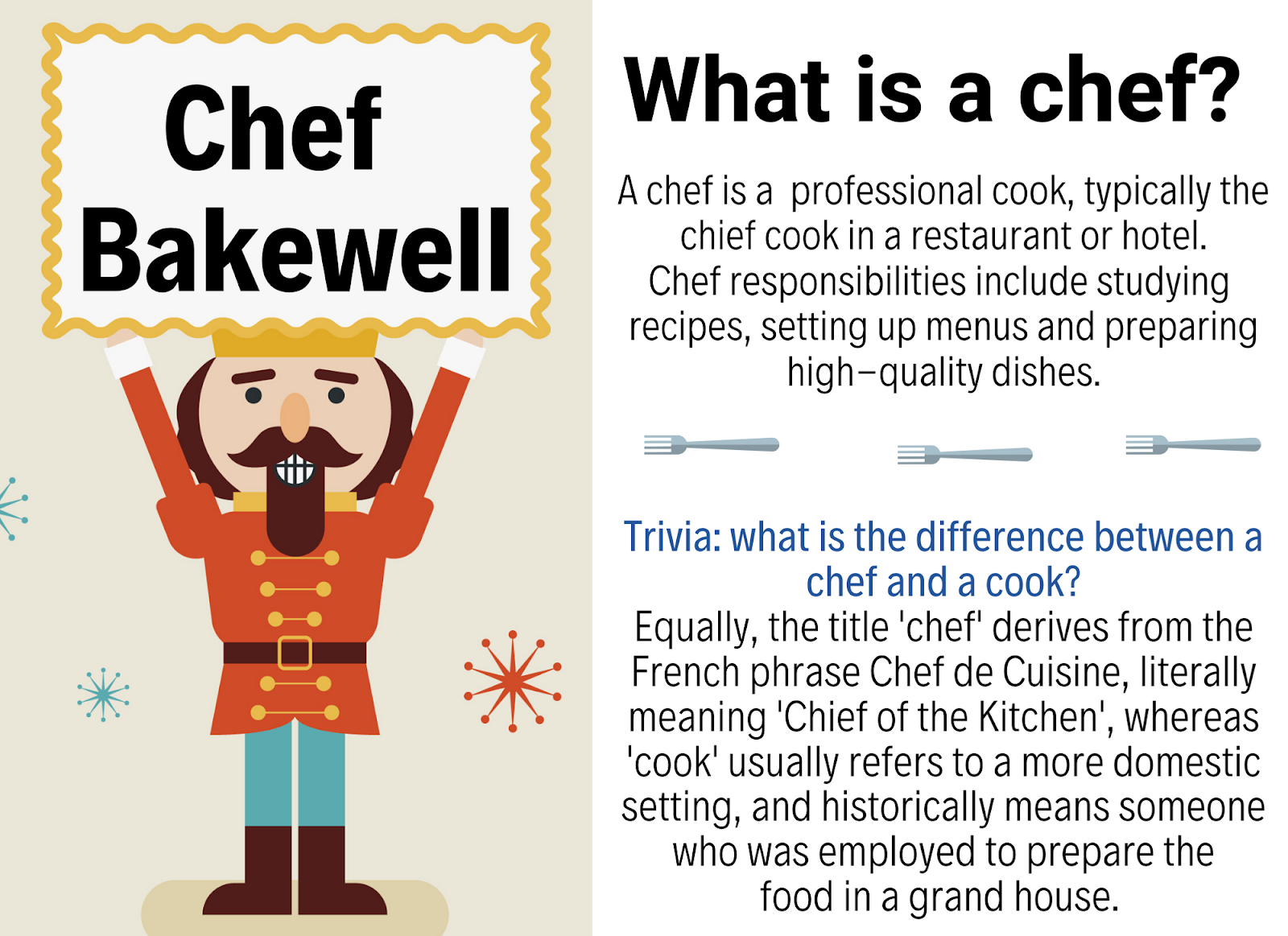 The game card for Chef Bakewell, the chef Nutcracker doll.