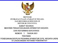 Surat Edaran Menteri Pendayagunaan Aparatur Negara Dan Reformasi Birokrasi Nomor  1 Tahun 2021 Tentang Penegakan Disiplin Pegawai Aparatur Sipil Negara (ASN) Di Lingkungan Instansi Pemerintah