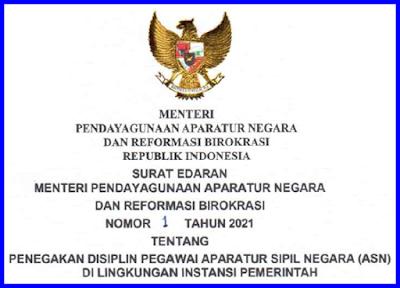 Surat Edaran Menteri Pendayagunaan Aparatur Negara Dan Reformasi Birokrasi Nomor  1 Tahun 2021
