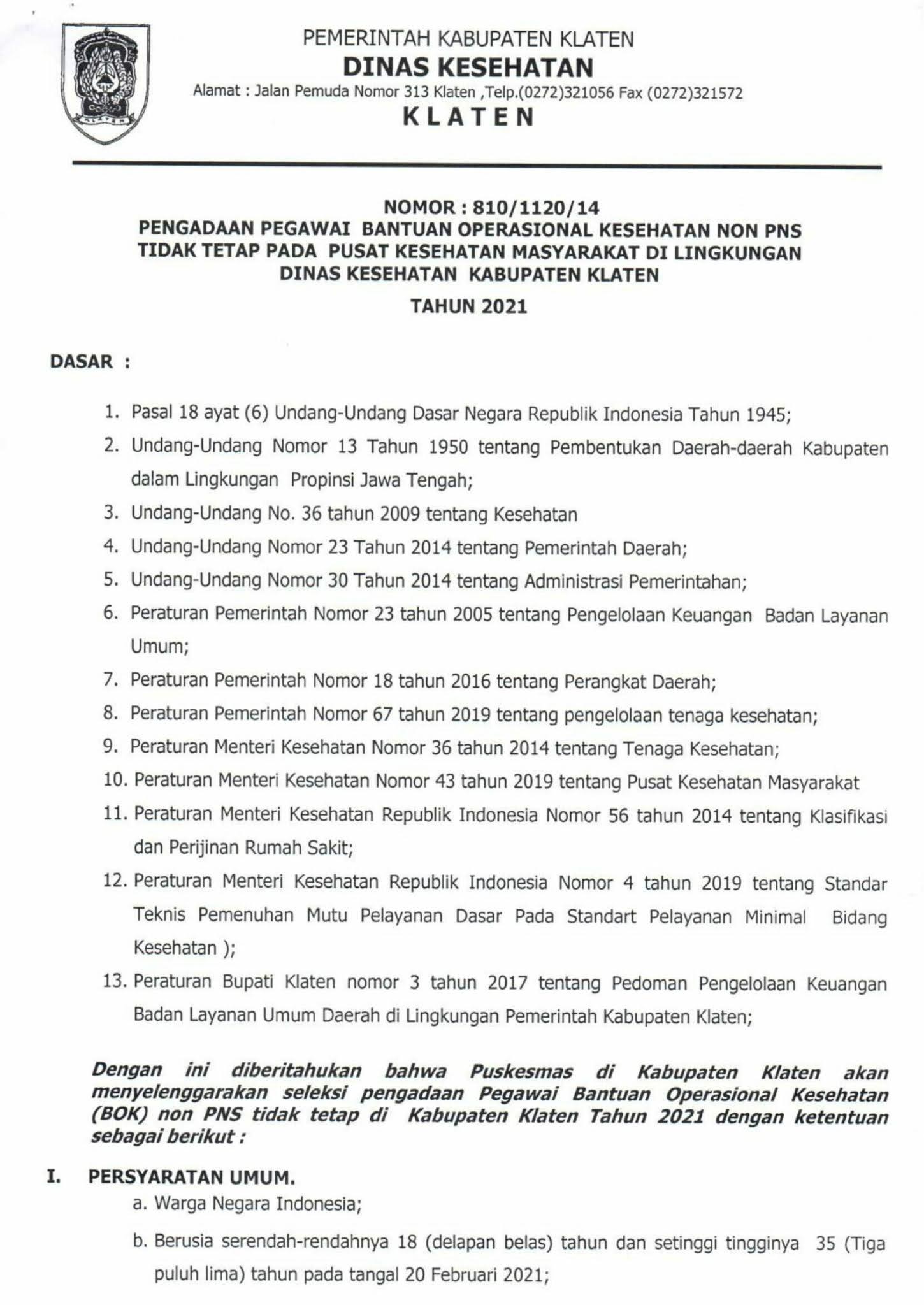 Lowongan Kerja Lowongan Kerja Non Pns Dinas Kesehatan Kabupaten Klaten Februari 2021