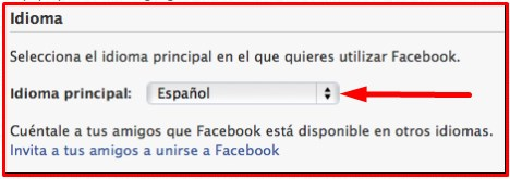 how to change language on facebook from spanish to english