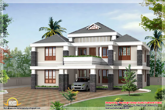 3080 square feet 4 BHK trendy kerala house design - May 2012