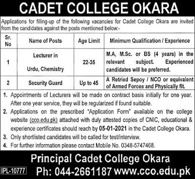 Cadet College Okara Lecturer Jobs 2021