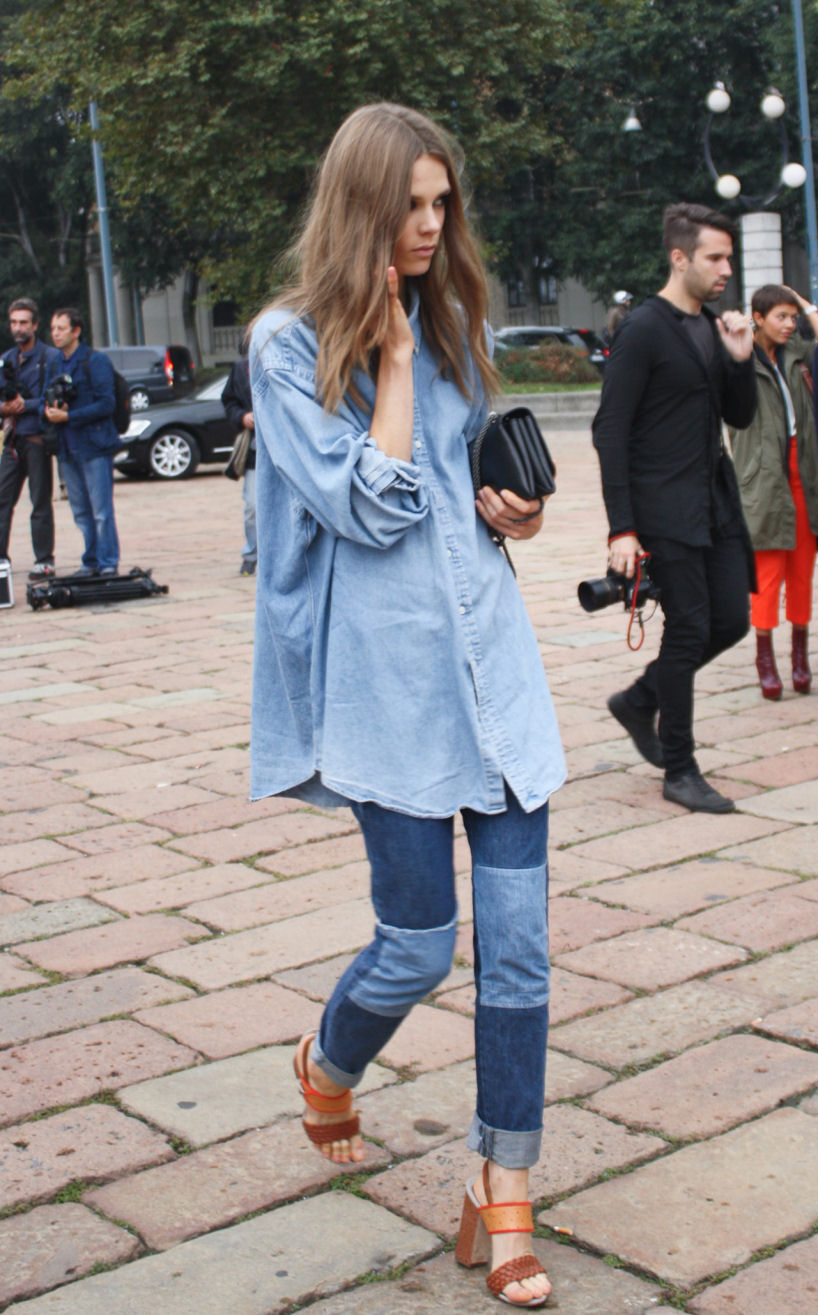 double denim, denim shirt, chambray shirt, how to wear denim shirt, how to wear chambray shirt, how to wear double denim, styling denim, denim street style