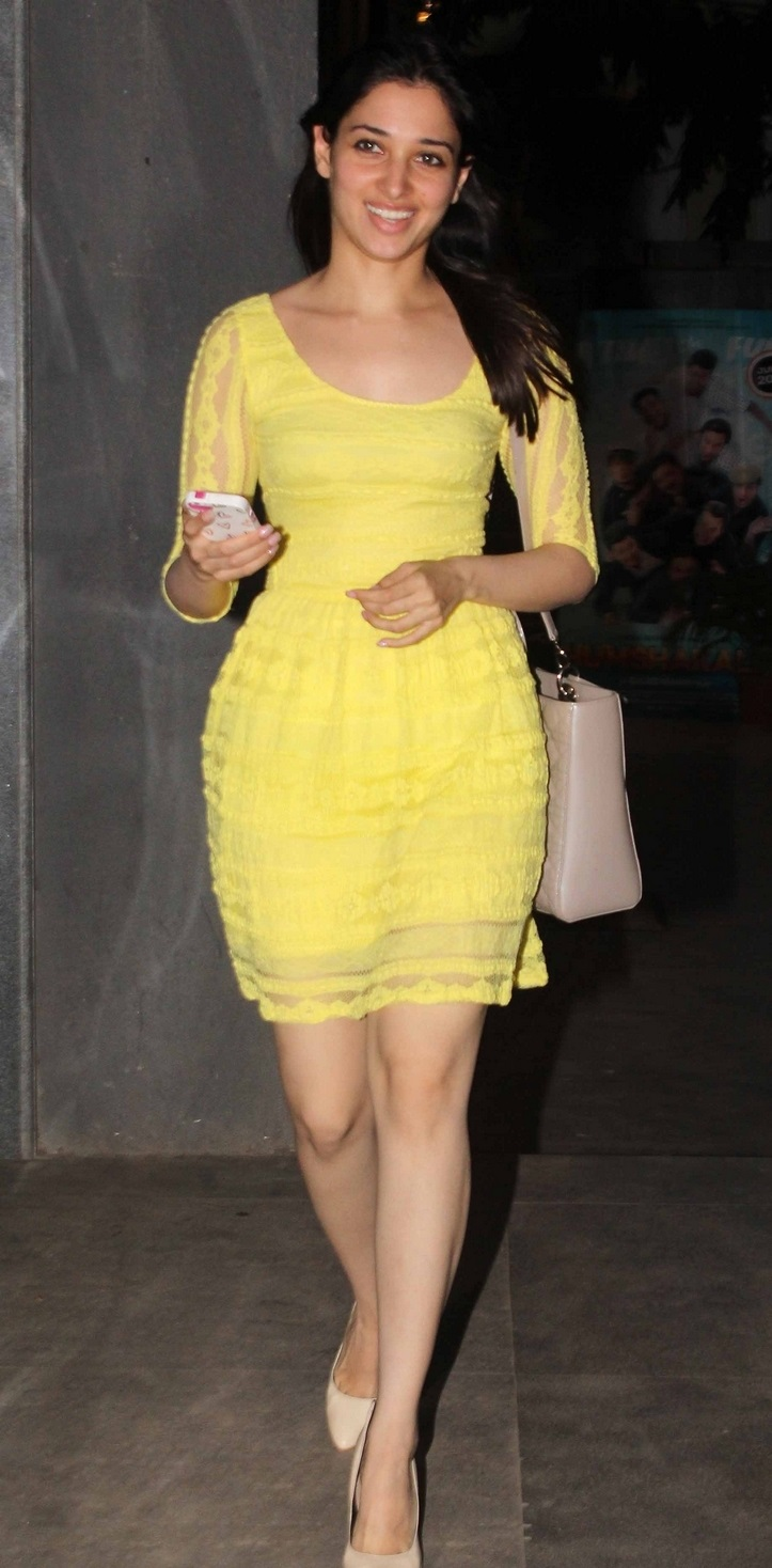 Gorgeous Bollywood Baby Tamannaah Legs Show No Makeup In Yellow Dress
