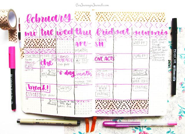 February bullet journal monthly spread
