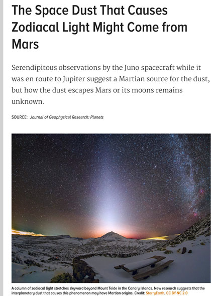 Zodiacal Light and the the Milky Way (Source: eos.org)