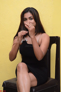 Vrushali Gosavi in strapless Short Black Dress At Follow Follow U Audio Launch 009.JPG