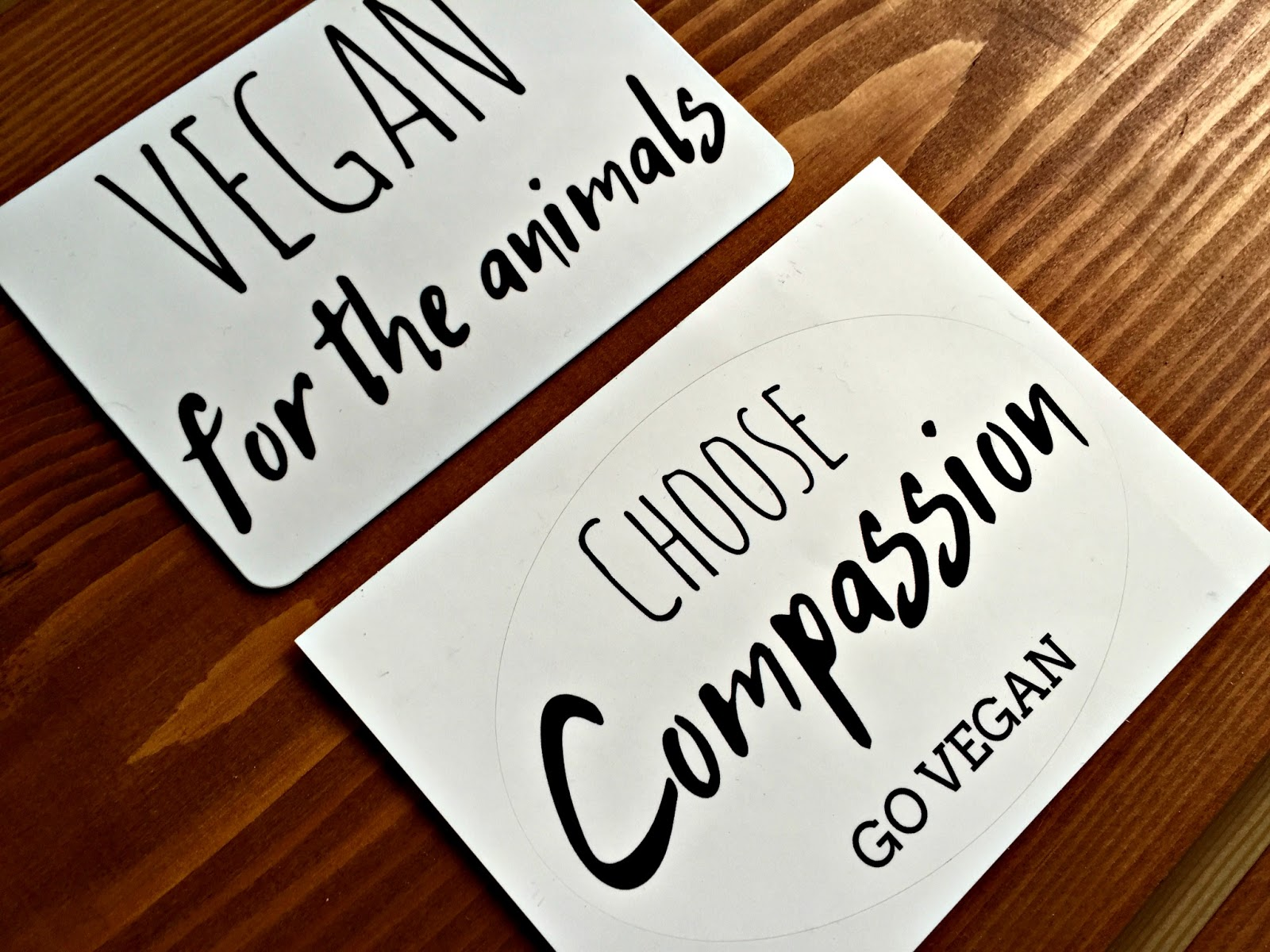 Vegan for the Animals Magnet, Choose Compassion Go Vegan sticker