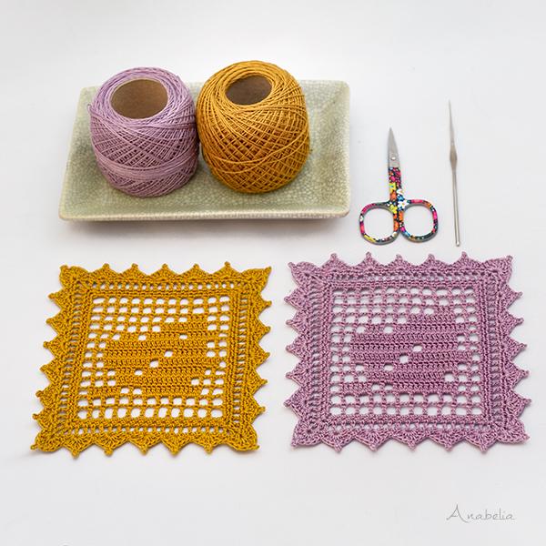Fall Leaf coasters, free crochet filet pattern by Anabelia Craft Design