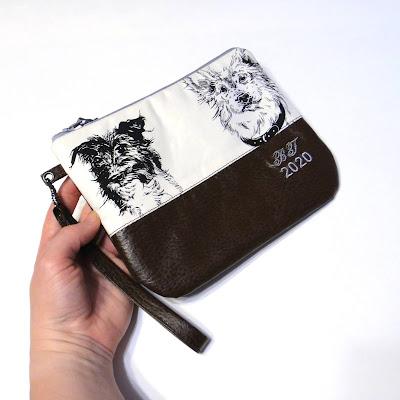 Персональный подарок девушка - сумка с собаками. Белый хлопок и коричневая кожа (натуральная шкура или искусственный аналог - на усмотрение заказчика)