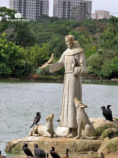 Close-up da Estátua São Francisco de Assis - Zoo SP - Parque do Estado - São Paulo