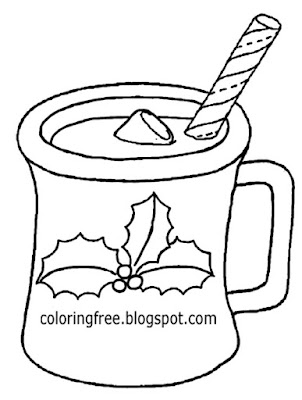 Holly bush Xmas home decor simple cute outline Christmas drink mug coloring book clipart to printout