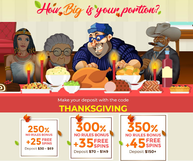 RTG Casino Thanksgiving offer: up to 350% No Rules bonus and 45 Free Spins