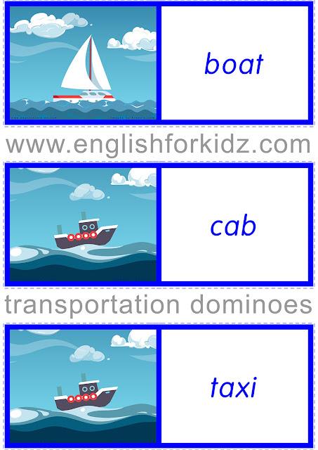 Free ESL transport dominoes game