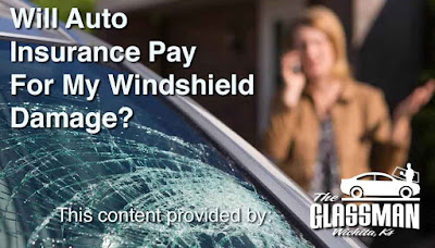 "Photo of woman on cell phone with her vehicle's broken windshield visible in the foreground. Headline reads: ""Will Auto Insurance Pay for My Windshield Damage?"""
