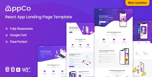 React App Landing page Template