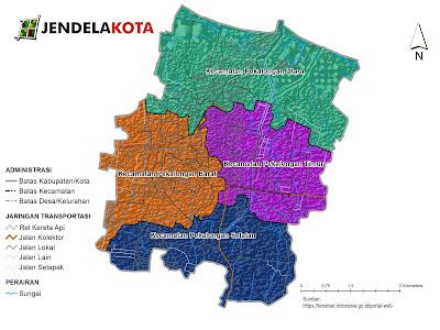 Peta pembagian kecamatan di Kota Pekalongan