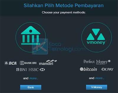 Klik menu Beli lalu pilih metode pembayaran yang Anda inginkan. Namun, karena kita ingin mentransfer saldo rekening kita ke PayPal, maka kita memilih V-Money.