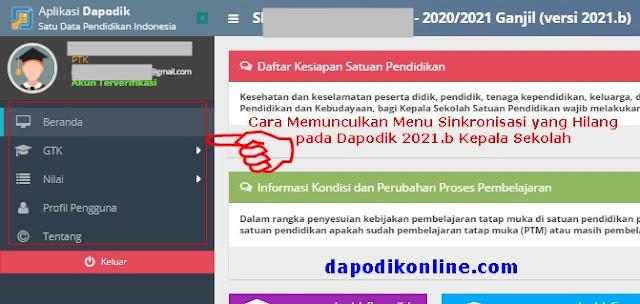 cara menambahkan hak akses akun dapodik kepala sekolah di manajemen pengguna aplikasi dapodik versi 2021 b agar muncul menu sinkronisasinya