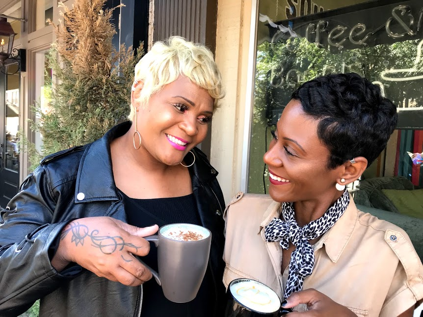 Tangie Bell And Shacarey Martin At Brunch Having Coffee at Local Cafe