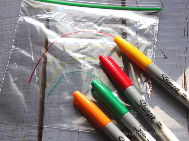 How to make a rainbow sensory bag