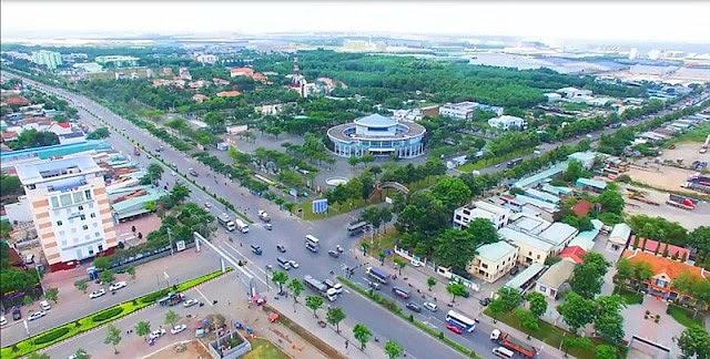 Thị xã Phú Mỹ nhìn từ trên cao.
