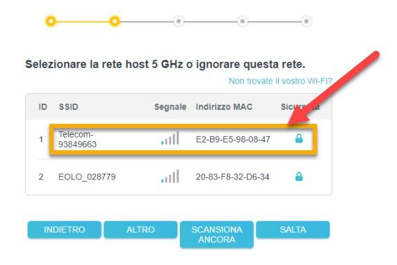 selezionare la rete a 5GHz