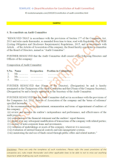 board resolution for constitution of audit committee