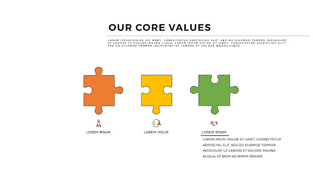 Free PowerPoint Templates for Our Values Presentation with 3 Pieces Puzzle