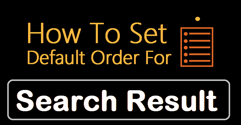 How to set default order for search result