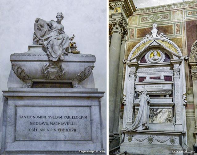 Florença - Basílica de Santa Croce - túmulos de Maquiavel e de Rossini