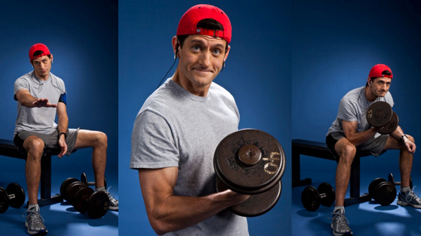 series of images of Paul Ryan working out