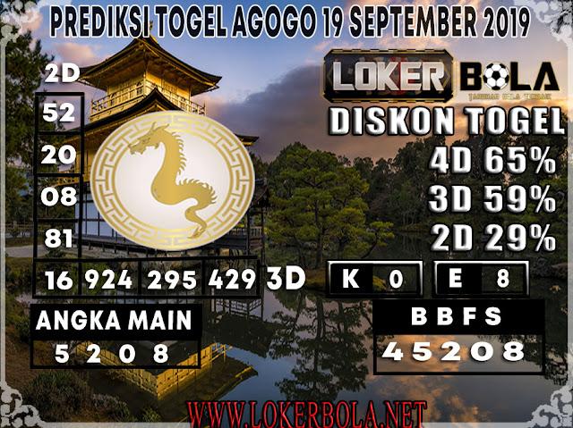 PREDIKSI TOGEL AGOGO LOKERBOLA 19 SEPTEMBER 2019