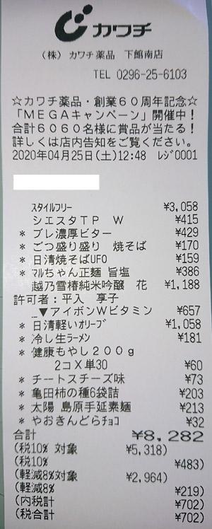 カワチ薬品 下館南店 2020/4/25 のレシート