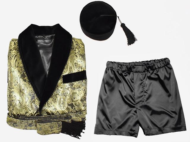 mens paisley silk brocade smoking jacket gold black morning lounge robe dressing gown pajamas