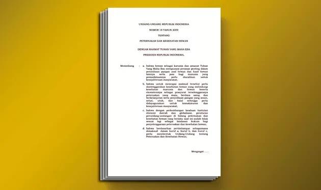 Undang-Undang (UU) Nomor 18 Tahun 2009 tentang Peternakan dan Kesehatan Hewan