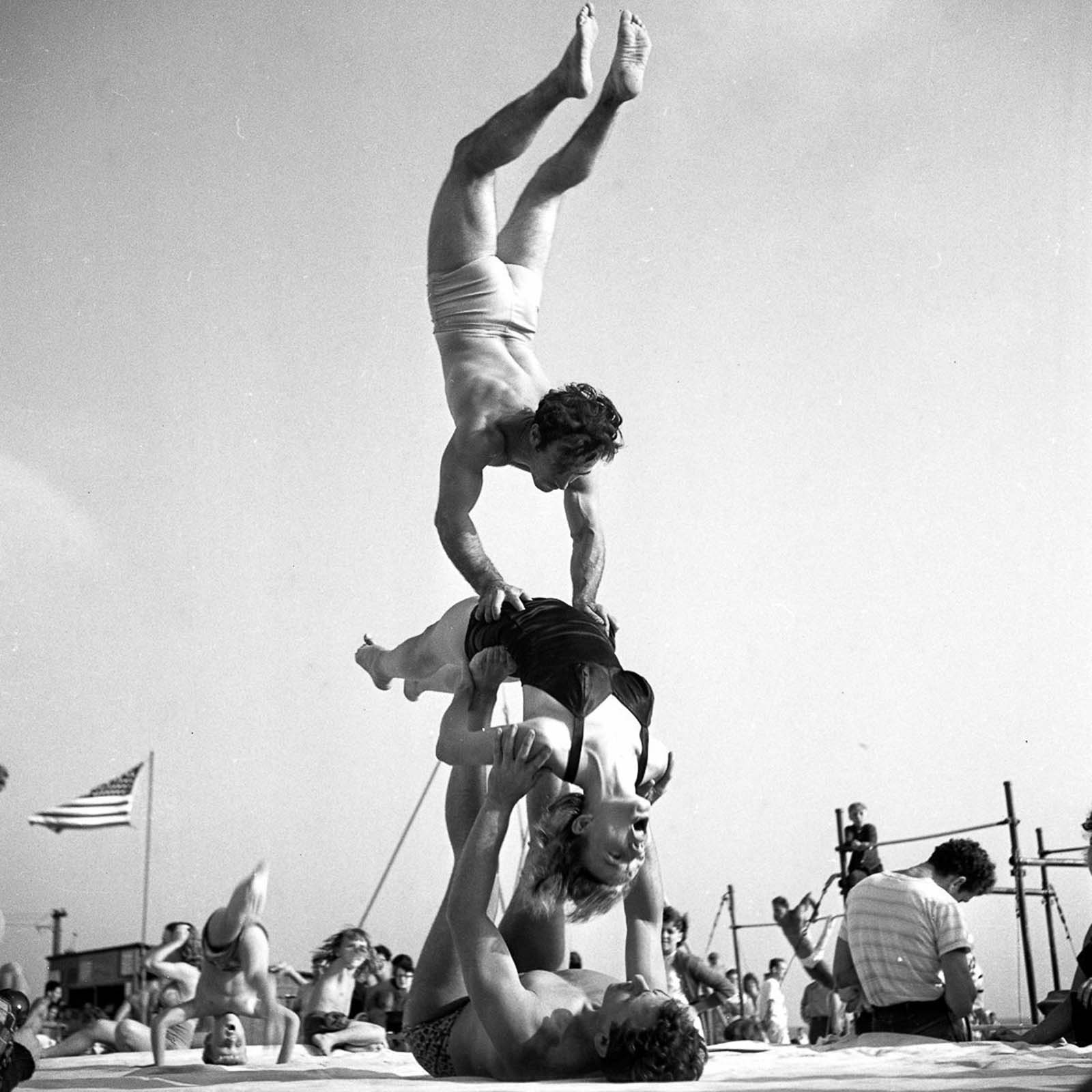 Acrobats at the Muscle Beach.
