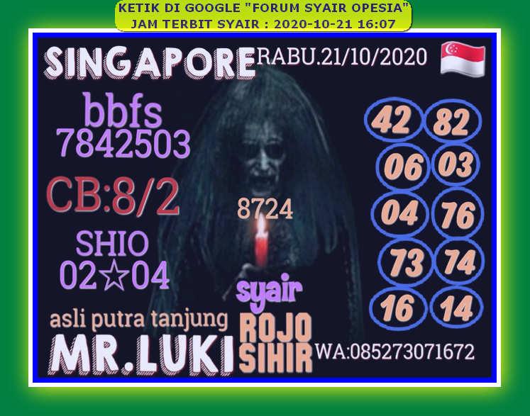 Kode syair Singapore Rabu 21 Oktober 2020 74