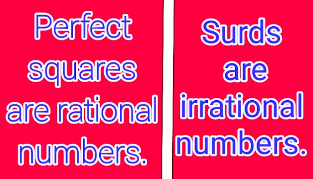 Rational and irrational numbers in the form of perfect squares and surds