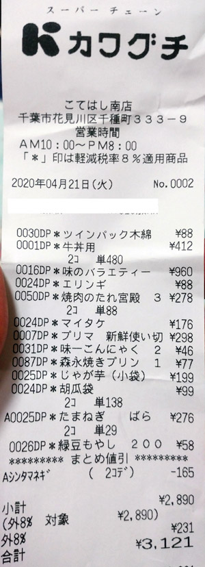 カワグチ こてはし南店 2020/4/21 のレシート